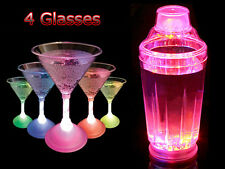 COLOUR CHANGING LED STROBING COCKTAIL MOCKTAIL SHAKER MAKER BAR SET W 4 GLASSES
