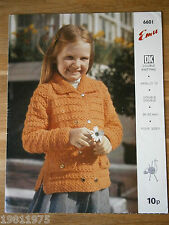 VINTAGE KNITTING PATTERN EMU 6601 DK GIRLS JACKET TO KNIT