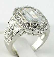 ANTIQUE PENTAGON 8.26 CT. lab White Topaz & CZ Wedding Engagement Ring - SIZE 7