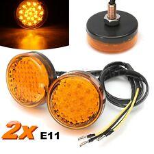 2x Universal Motorcycle Round LED Turn Signal Indicator Blinker Light Amber 12V