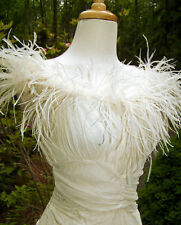 RARE ANTIQUE VINTAGE 1938 HOLLYWOOD GLAMOR CHIFFON AND FEATHERS WEDDING DRESS