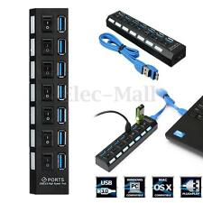 7 Port USB 3.0 Hub Box Hi-Speed Charger Adapter LED Power On/Off Switch + Cable