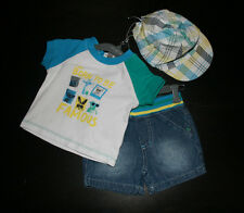 NEW Baby Boys Absorba Paris Born to be Famous 3 Piece Outfit Set Cap 0-3 Months
