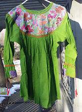Maya Mexican Blouse Top Shirt Embroidered Flowers Huipil Chiapas Green Small