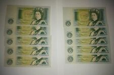 10 consecutive one pound banknotes, Bank of England, aUncirculated