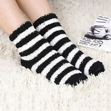 Women Girls Winter Bed Socks Solid Fluffy Warm Soft Thick Home Candy Color  GF