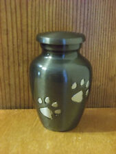 Slate w/Pewter WalkingPaw Prints Solid Brass Keepsake Token Mini Pet Urn~Cat/Dog