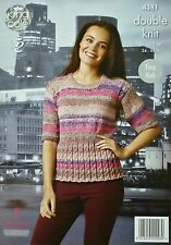 KNITTING PATTERN Ladies Short Sleeve Easy Knit RoundNeck Jumper DK KingCole 4381