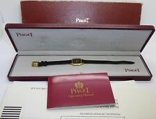 Vintage 18k 750 Gold PIAGET 20MM QUARTZ ONYX DIAL REF. 8952 Watch Box & Papers
