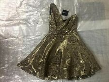 "BNWT LADIES "" ASOS PETITE "" ONE SHOULDER GOLD METALLIC JACQUARD DRESS - UK 8 !"