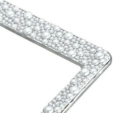 Rhinestone Diamond White PEARLS Over Chrome Metal License Plate Frame for CAR