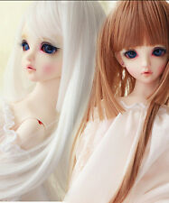 "New 1/3 BJD SD YOSD LUTS DOLLFIE Hair 9-10""Long Straight White/Brown Girl Wig"