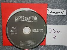VG Blu Ray Replacement Disc # 3 Grey's Anatomy WS Fourth Season NOT set NO GSP