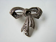 Antique Eternal Bow Everlasting Love Solid Silver Marcasite Brooch