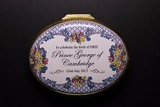 Halcyon Days Enamels Box Prince George Of Cambridge Royal Birth Oval Shaped