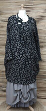 LAGENLOOK*BELLA BLUE*AMAZING FANTASTIC PRINT LONG TUNIC/DRESS*BLACK/GREY* L-XL