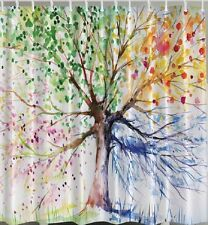 Four Seasons Tree Fabric SHOWER CURTAIN Spring Summer Fall Winter Paint Leaves