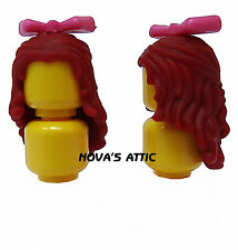 LEGO FEMALE GIRL DARK RED HAIR WITH PINK BOW FOR MINIFIGURE