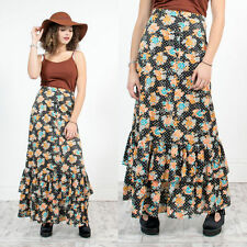 WOMENS VINTAGE 70'S FLORAL PATTERNED MAXI SKIRT BOHO HIPPIE STYLE FRILL HEM 8