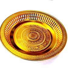 Gold Plastic Tray Serving Plate Traditional Thai Pattern Decor Hotel Restaurant