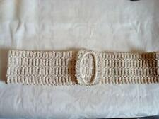 Vintage Antique Crocheted Ivory Belt With Buckle 2 1/4 x 22 1/2 In.
