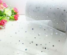 "5Yd x6"" White Star Sequin Tulle Tutu Trim Wedding Party Decor DIY Bow L2825"