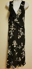 THE LIMITED BLACK FLORAL SILK DRESS sz 14