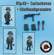 MP40 +2 CARTUCHERAS+ 2 GRANADAS *VALUE PACK* GERMAN WW2 GUERRA MUNDIAL PLAYMOBIL