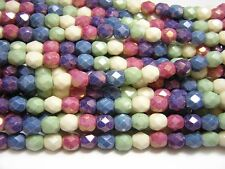 5mm Opaque Gemtone Luster Czech Glass Firepolished Round Beads (25) #4945