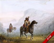 TRAPPER MT MAN & NATIVE AMERICAN INDIAN GUIDE PAINTING ART REAL CANVAS PRINT