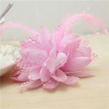 Pink Flower Feather Bead Corsage Hair Clips Fascinator Hairband Pin brooch