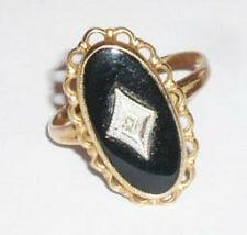 VINTAGE VICTORIAN 10CT FINE BLACK ONYX DIAMOND GOLD RING SIZE l PSCO CONNECTICUT