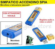ACCENDINO MICRO CAM VIDEOCAMERA NASCOSTA USB SPY SPIA AUDIO FOTO VIDEO MICROSPIA