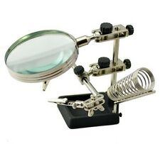 3RD Helping Hand Glass Solder Stand Station and Magnifying Glass Precision Set