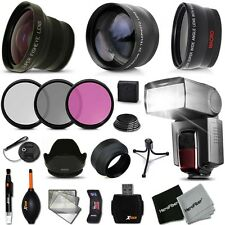 Xtech Kit for Canon EOS Rebel T1I Ultimate 58mm FishEye 3 Lens w/ Flash + M