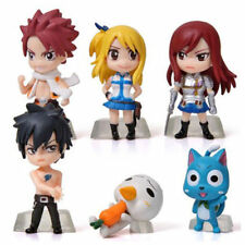 6PCS Anime Fairy Tail Natsu Lucy Gray Erza Figure 5cm Mini Doll Toys Collection