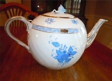 "Herend Chinese Bouquet Blue ~ Tea Pot 1604 ~ Rose Finial Perfect ~ Large 6"" tall"