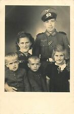 WW II military german officer family real photo postcard wife children uniform