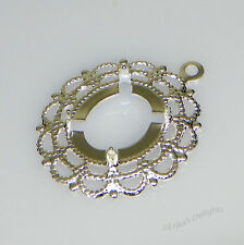 12x10mm Oval Silver Plated Filigree Design Cabochon (Cab) Drop Setting (2pc)