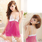 Sexy Sleepwear Babydoll Lingerie Nightgown Flower Lace Dress G-String #150 Pink