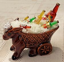 VINTAGE UNIQUE BAR DECORATION FIGURINE - DONKEY W/ CART OF ICE & MEXICAN BEER