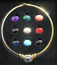 JOAN RIVERS CLASSICS COLLECTION OMEGA 10 COLOR SLIDE COLLAR GOLD TONE NECKLACE