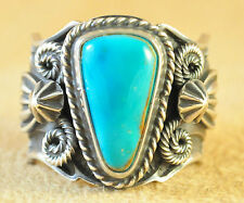 Navajo Sterling Silver Rare Blue Gem Turquoise Traditional Ring By Andy Cadman