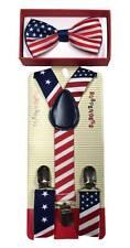 Fourth of July Kids USA Flag Suspender Bowtie- Children Toddler Baby Formal Wear