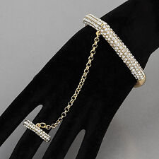 Gold Rhinestones Chain Ring Attached Stretchable Urban Trendy Bangle Bracelet