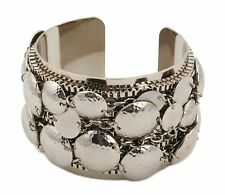 Zest Punched Metal Disk & Chain Design Wide Cuff Bangle Silver