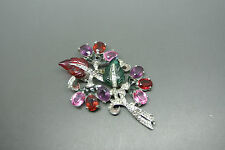 Vintage Mazer Bros 50s Rare coloured crystal leaf clip Brooch