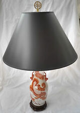 Antique Chinese Export Porcelain Vase Converted Table Lamp w/ Orange Foo Dogs
