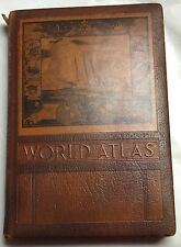 1943 WW2 Rand McNally World Atlas, Leather-Bound, Great Historical Significance!