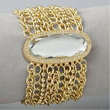 NWT$195 BETSEY JOHNSON Gold Fip Top Mesh Charm Watch